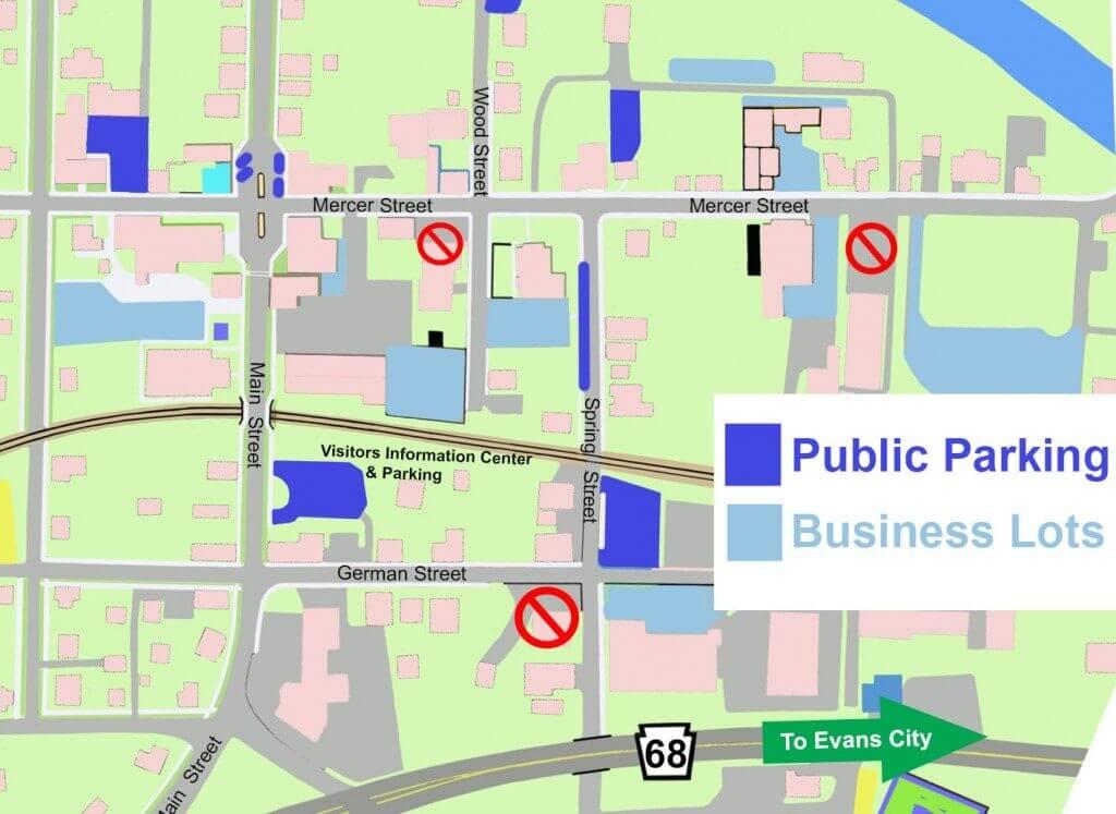 Parking Map for Harmony, The Center of Harmony, Harmony Inn.