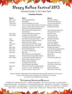 Harmony PA Sleepy Hollow Festival Schedule