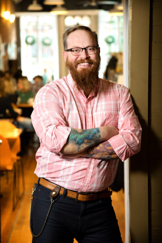 Josh Meeder, Co-Founder and Owner of The Center of Harmony in the Wunderbar Coffee and Crepes
