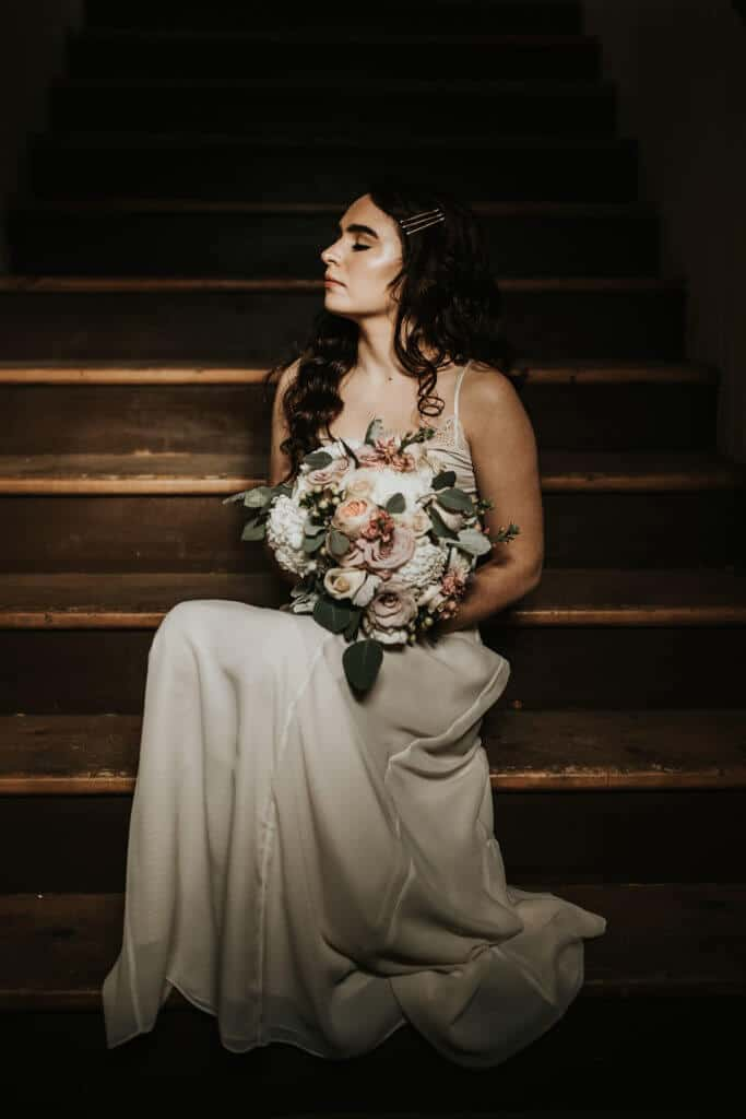 Oakwood Photography at The Center of Harmony, Front Stairs Bride